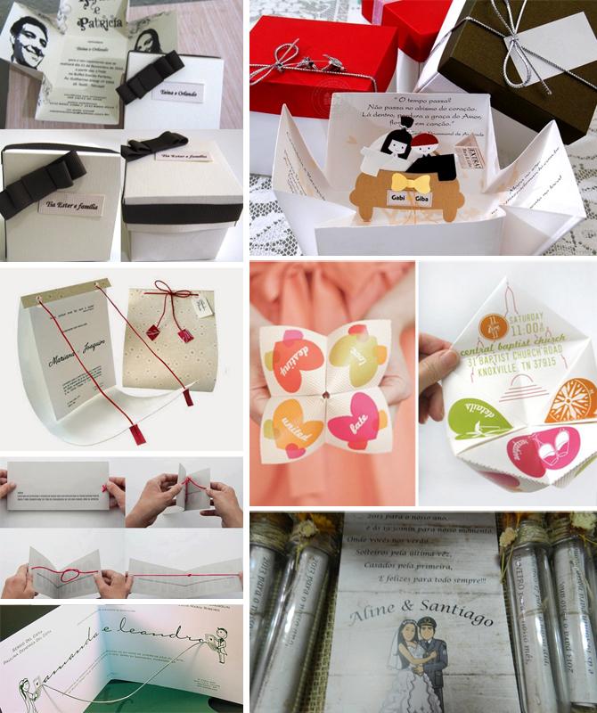 Outra tendência artesanal! Convites em forma de caixinhas, pergaminhos ou até aquelas dobraduras que fazíamos na infância!