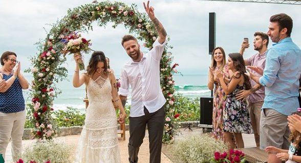 renovação de votos de Taciele Alcolea, casamento na praia